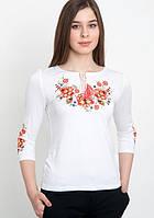 Вышитая кофта футболка женская в белом цвете