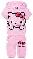 Розовый летний костюм на девочку Hello Kitty, с бриджами, фото 1