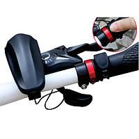 Сирена-звонок-гудок на руль велосипеда с выносной кнопкой (велосипедный электронный), черная
