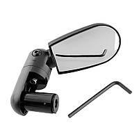 Зеркало заднего вида для велосипеда - заглушка в руль (велозеркало, велосипедное), овальное черное