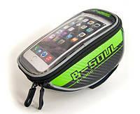 Велосумка для смартфона, мобильного телефона (сумка на руль велосипеда) B-Soul, зеленая