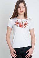 Вышитая кофта футболка женская с коротким рукавом