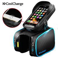 """Велосумка (сумка на раму велосипеда) для смартфона CoolChange водонепроницаемая, 6,2"""", чёрно-синяя"""