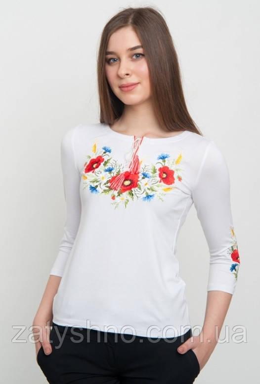 Вишита футболка жіноча з квітами