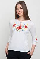 Вышитая футболка женская с цветами