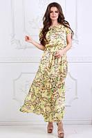 Женское длинное платье желтое разрезы