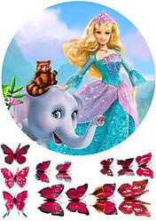 """Вафельная картинка для торта """"Барби"""", круглая (лист А4)"""