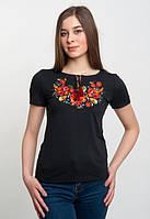 Вышитая  футболка женская черная с коротким рукавом