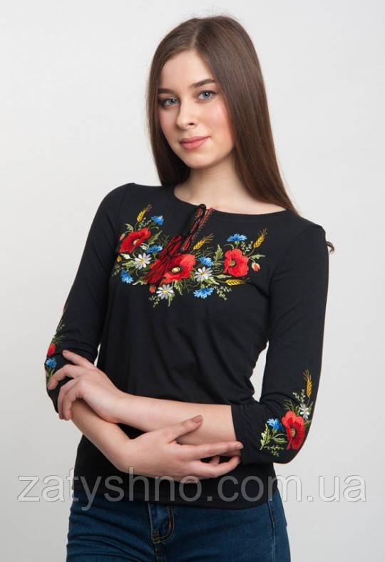 Вышитая кофта футболка женская в черном цвете