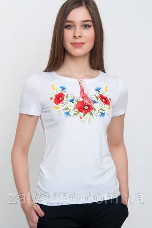 Вышитая  футболка женская  белая с цветами