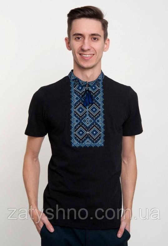 Мужская футболка вышитая  черная с коротким рукавом