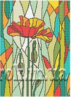 """Схема для вышивки бисером """"Витраж мак""""."""