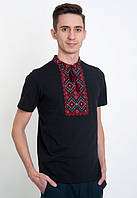 Вышиванка черная  мужская с коротким рукавом