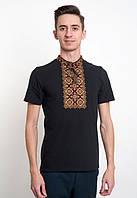 Вышиванка черная  мужская в украинском стиле