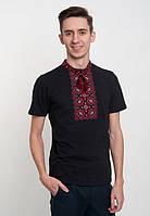 Вышиванка черная  мужская с красной вышивкой