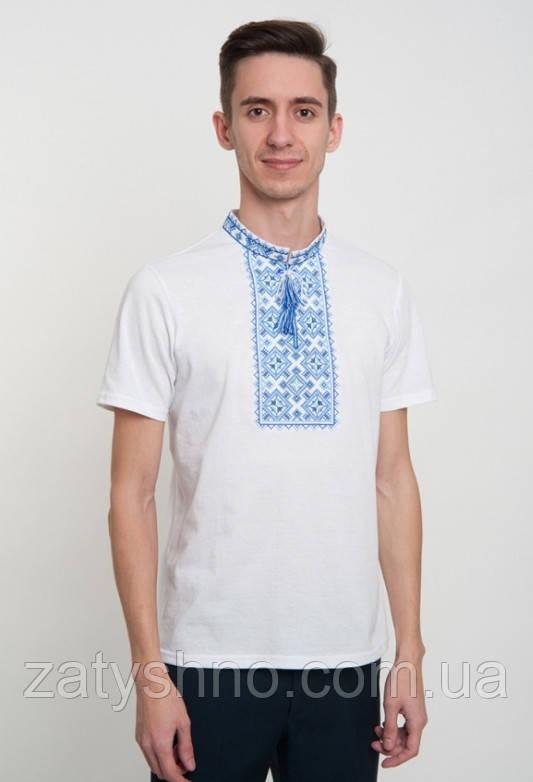 Вышиванка белая  мужская  с коротким рукавом