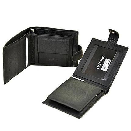 Чоловічий гаманець Dr. Bond з натуральної шкіри з вкладеним портмоне і ручкою. Чорний., фото 2