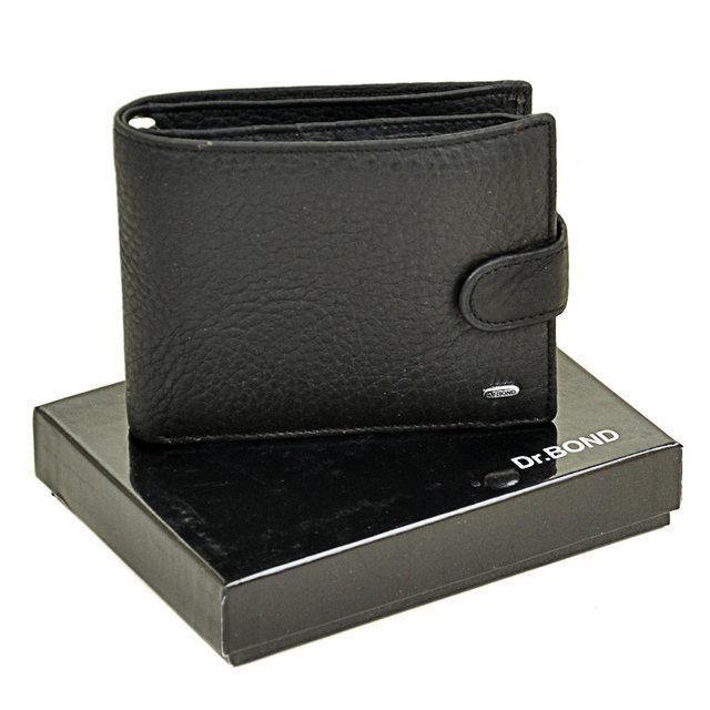 Чоловічий гаманець Dr. Bond з натуральної шкіри з вкладеним портмоне і ручкою. Чорний.