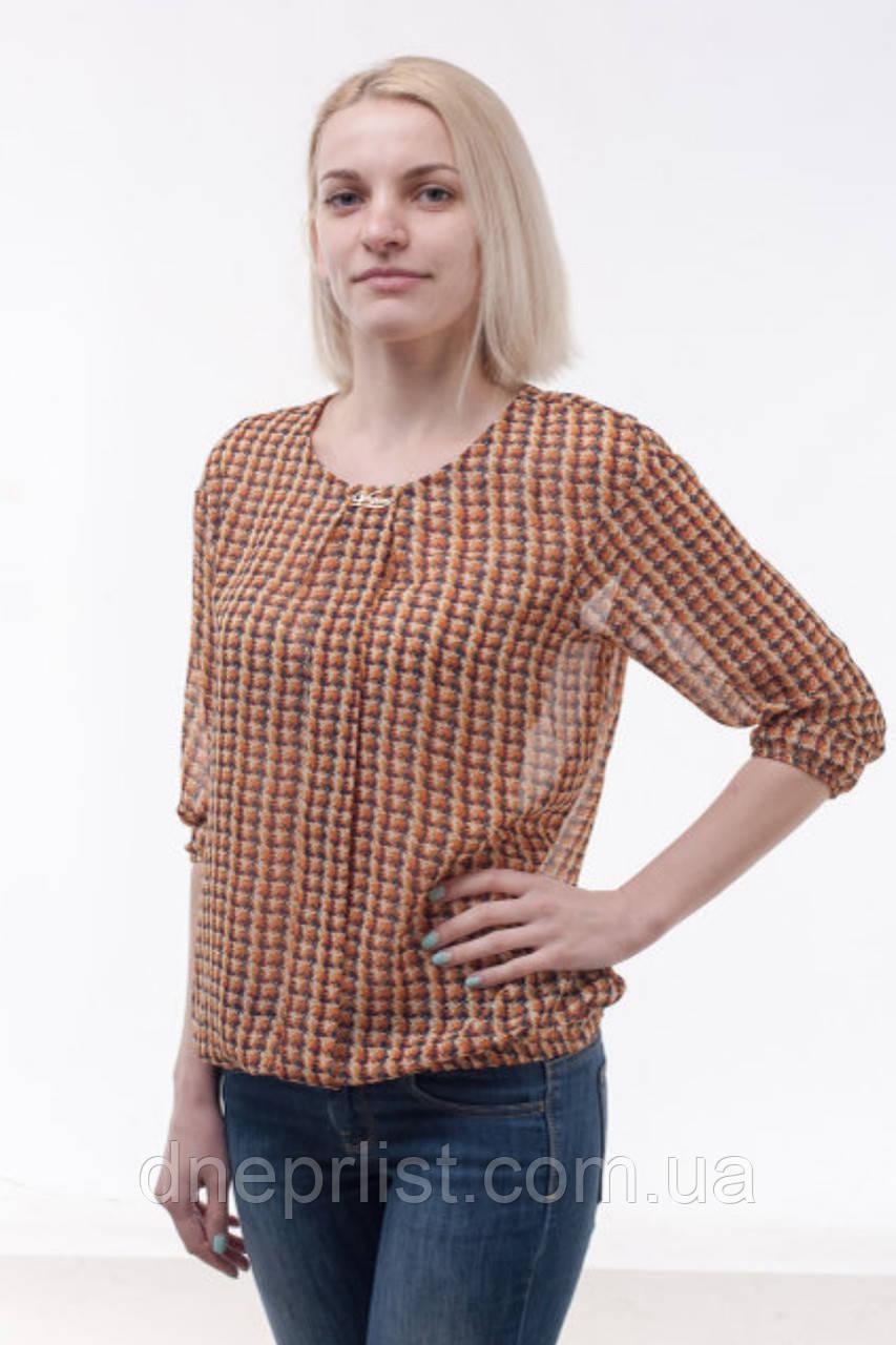 Блуза женская из шифона, оранжевая (р. 44-48)