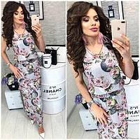 Платье длинное ,летнее, модель 817, цветочный принт на сером фоне, фото 1