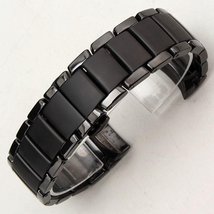 d999aadc Браслет для часов Armani AR1452 керамический. Заокругленное окончание.  Черный. 22-й размер