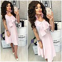 Платье короткое, в полосочку ,летнее с воланом, модель 104, цвет светло-розовый
