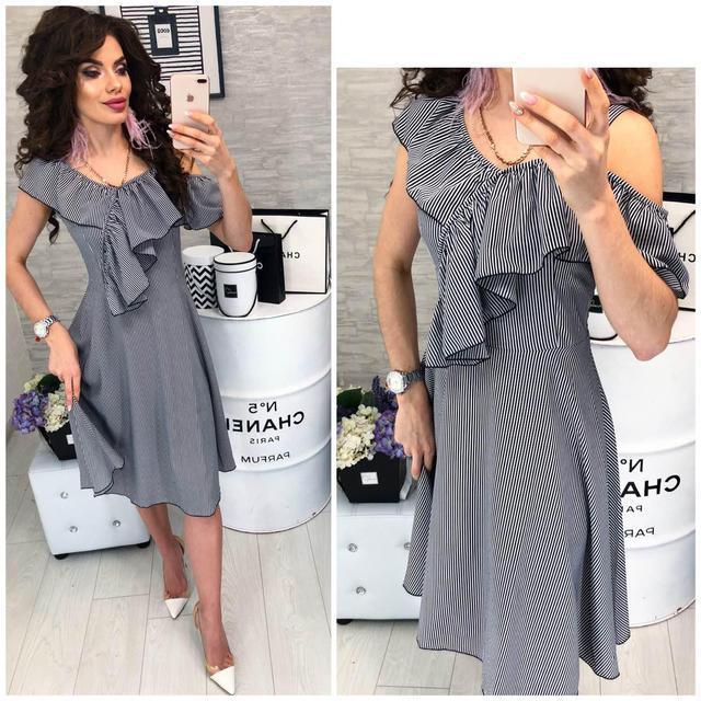 Платье короткое, в полосочку ,летнее  с воланом, модель 104,  в черно-белую полоску