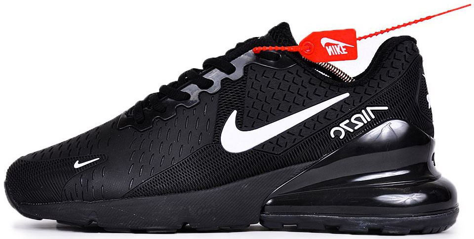 Мужские кроссовки Nike Air Max 270 Black/White (Найк Аир Макс) черные