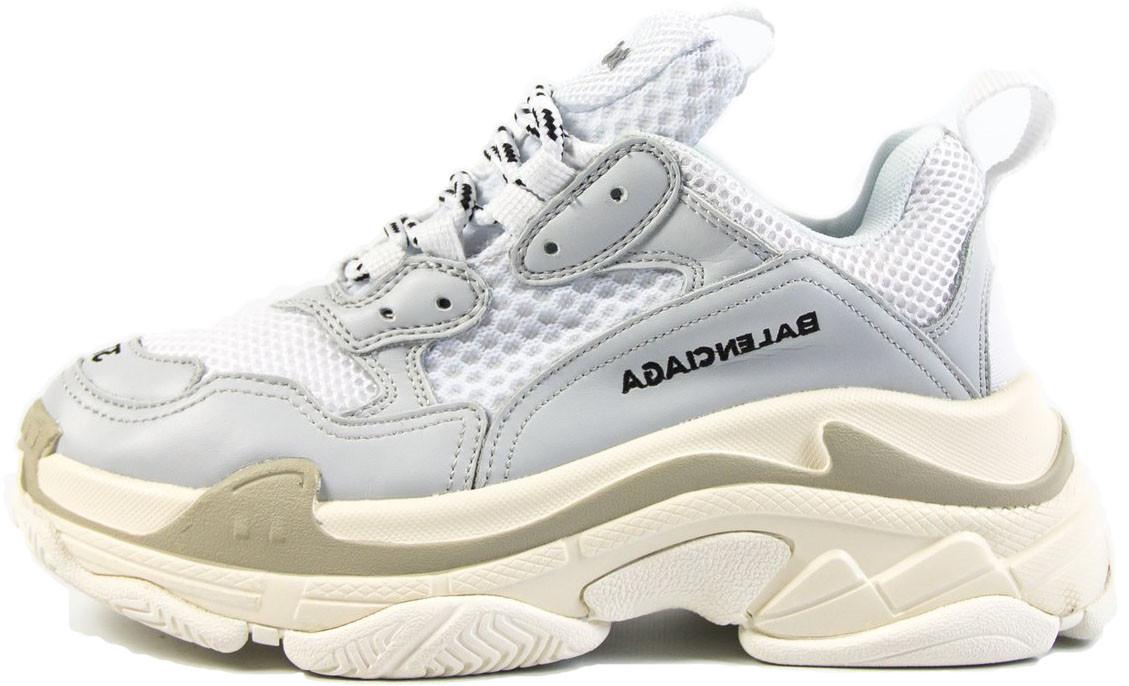 Женские кроссовки Balenciaga Triple S White/Grey/Beige (Баленсиага) белые