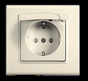 Розетка с защитной крышкой и  заземлением, VIKO Linnera  Крем, фото 2