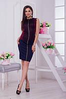 Облегающая бордовая женская коттоновая кофта с отделкой из французского кружева. Арт-6573/52, фото 1