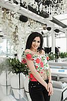 Легкая летняя женская кофта из  итальянского кружева с вышитыми красными цветами. Арт-6575/52