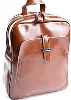 Стильный молодёжный рюкзак из натуральной кожи коричневого цвета