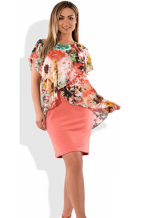 4a3ead8fdb1 Женское Платье-костюм Коралловое с Цветами Размеры от XL ПБ-340 — в ...