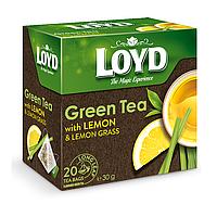 Чай в пакетиках пирамидках Loyd Green Tea, лимон&лимонник, 1,5г*20шт