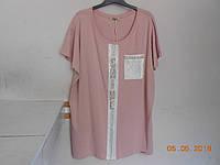 Розовая  футболка  с блестящими деталями, фото 1