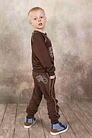 Модные спортивные брюки из натуральной ткани для мальчика 3-8 лет (р. 98-128) ТМ Модный карапуз Коричневый