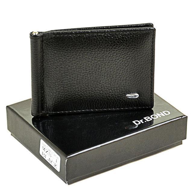 Чоловічий гаманець з затиском з натуральної шкіри Dr. Bond Classic. Шкіряний гаманець - затискач.