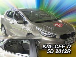Дефлектори вікон (вітровики) Kia Ceed 2012 -> 5D 4шт (Heko)