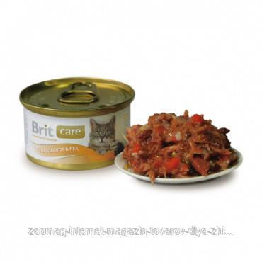 """Влажный корм Brit Care Cat Tuna, Carrot & Pea """"Тунец, морковь и горох"""" 10/0,1 (для взрослых кошек), 80 гр"""