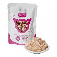 Влажный корм (Пауч) для кошек BRIT Care Cat курица и утка  80 гр.