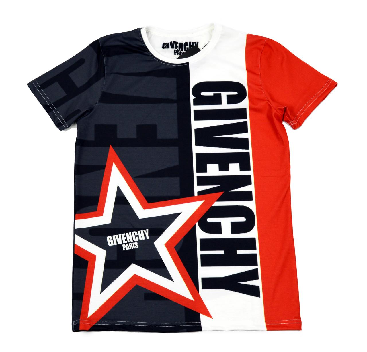 Яркая мужская футболка с рисунком GIVENCHY на лето
