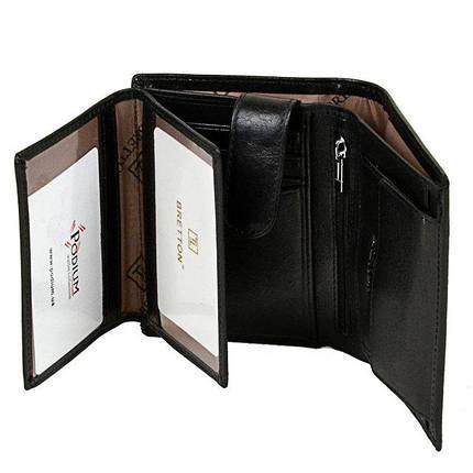 Вертикальний чоловічий гаманець Bretton з натуральної шкіри. Шкіряне портмоне чорний колір., фото 2