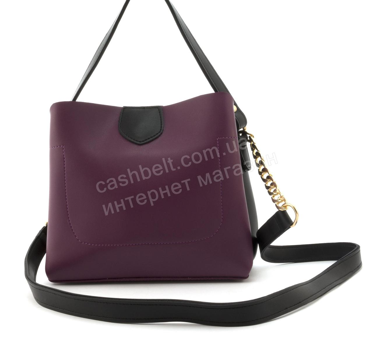 Небольшая вместительная женская стильная сумочка из эко кожи B. Elit art. 08-20 фиолетовая