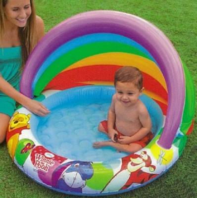 Дитячий надувний басейн Intex 57424 c навісом «Вінні Пух» Ø102x69см, фото 2