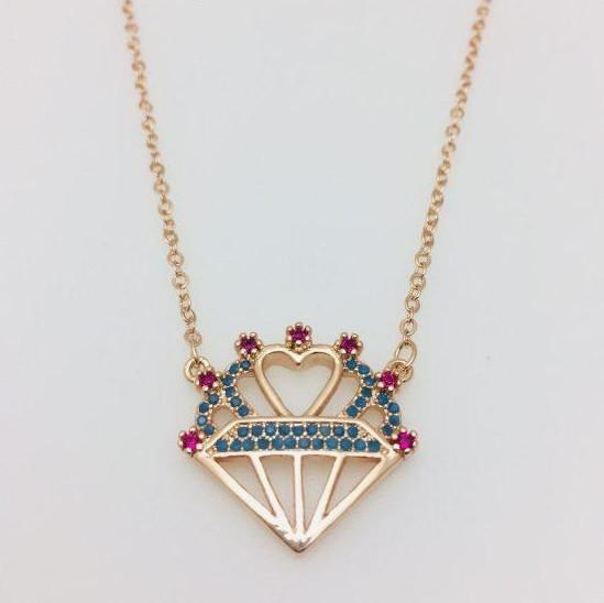Цепочка+ кулон Бриллиант и сердце ювелирная бижутерия Fallon