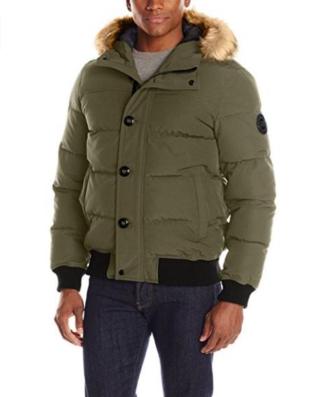 Зимняя куртка Levi's Men's Shorty Snorkel Quilted Hoody Bomber - Olive (XL)