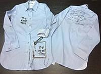 Рубашка-туника для девочки подростка украшенная стразами и жемчужинами (3103/7)