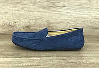 Синие замшевые мужские мокасины деми UGG Australia Mens Ascot Black