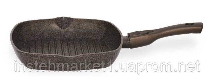 Сковорода-гриль БИОЛ 28143П (280x280 мм) антипригарное покрытие, съёмная бакелитовая ручка Soft-touch